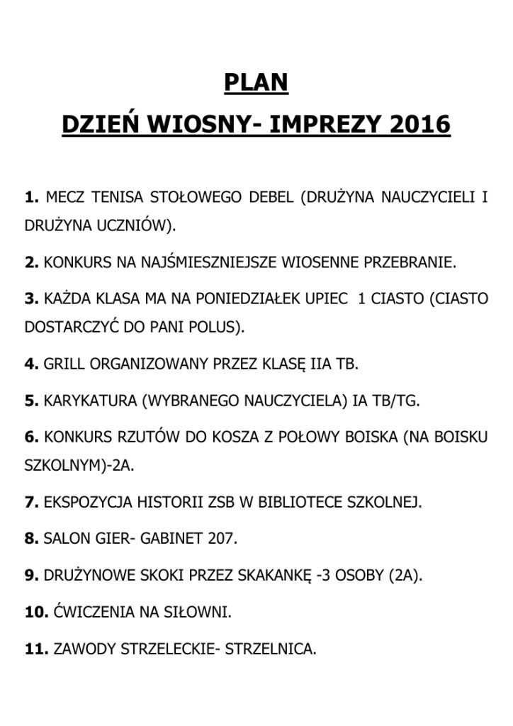 DZIEŃ WIOSNY - IMPREZY  2016