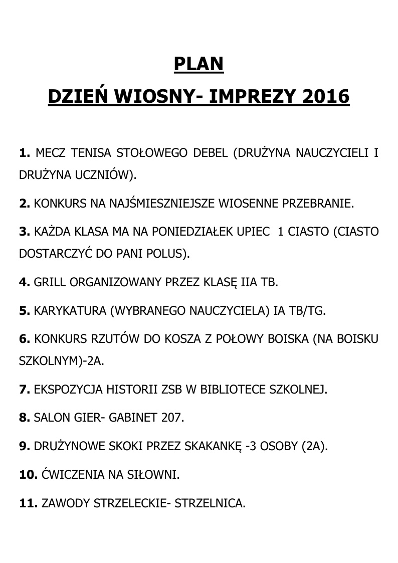 PLAN DNIA WIOSNY 2016
